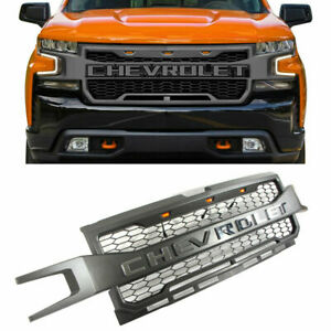 For Chevrolet Silverado 1500 2019 2020 Front Grill Grille W amber Lights Grey Us