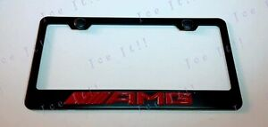 3d Amg Mercedes Benz Red Emblem Stainless Steel License Plate Frame Rust Free