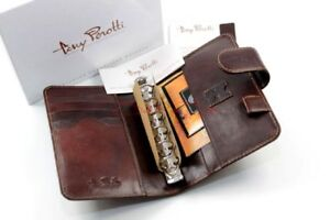 Tony Perotti Timer Organiser Ring Bar Pen Holder Business Cards Leather Braun