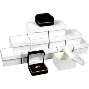 12 Ring Boxes Black Velvet Jewelry Gift Case Display