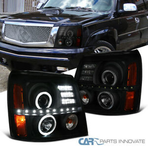 For Cadillac 02 06 Escalade Black Smoke Led Drl Strip Halo Projector Headlights