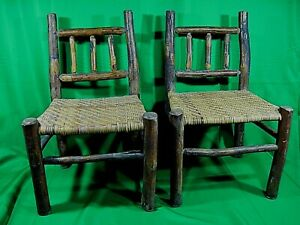 Lot Of 3 Old Vintage Primitive Child Children Hickory Wood Rustic Chairs Wicker