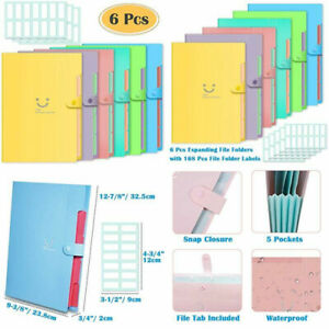 Selizo 6 Pcs Expanding File Folders With 5 12 7 8 X 9 3 8 Assorted Colors