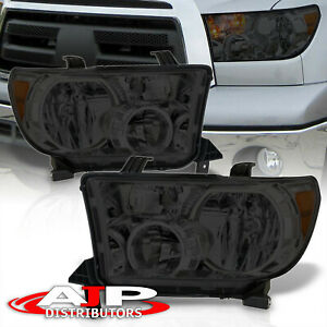 Smoke Amber Headlights Lamps Left Right Pair For 2007 2013 Toyota Tundra Sequoia