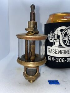 Michigan Lubricator 483a Oiler Hit Miss Gas Engine Glass Antique Brass Vintage