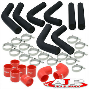 8 Piece Black 2 5 Intercooler Piping Kit T bolt Clamps red Silicone Couplers