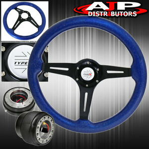 For 96 15 Civic Steering Wheel Blue Wood Sparkling Black Slim Quick Release