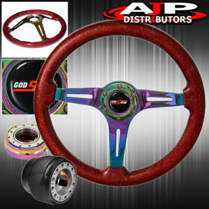 Slim Quick Release For 96 05 Civic Metallic Red Wood Neo Chrome Steering Wheel