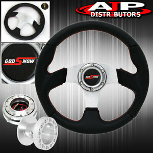 For 96 00 Civic 320mm Black Silver Steering Wheel Godsnow Thin Quick Release