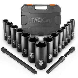 Tacklife Complete 1 2 inch Drive Deep Impact Socket Set Inch Cr v 6 Point 17