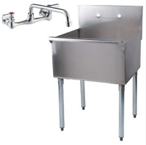 24 X 24 X 14 Stainless Steel Commercial Sink With Faucet Utility Prep Laundry