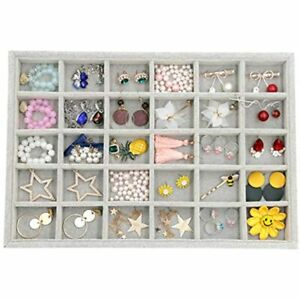Velvet Stackable 30 Grid Jewelry Tray Display Removable For Necklace Ring Box