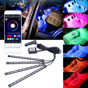 4x Led Rgb Light Strip Car Atmosphere App Bt Control Interior Lamp Multi Color