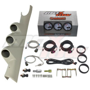 White Maxtow Boost Egt Fuel Psi Gauges Taupe Pod For 03 09 Dodge Ram Cummins