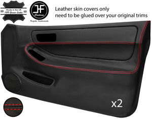 Red Stitch 2x Full Door Card Leather Cover For Acura Integra Type R Dc2 93 01