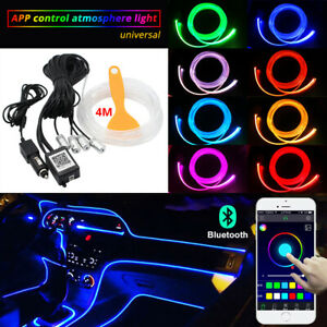 Rgb Led Car Interior Decor Atmosphere Light Strip Wire Moulding Lamp Optic Fiber