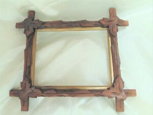 Antique Adirondack Carved Wood Criss Cross Frame Old Glass 7x9 Fit C1870s