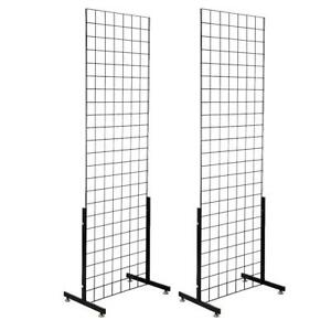 Display Grid Rack 2 Panels Metal Retail Wall Store Craft Show Art Stand