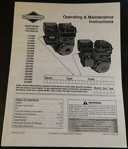 2001 Briggs Stratton Engines see Cover Owners Manual P n 275092 314