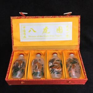 China Old Beijing Painted Snuff Bottle Set Glass Built In Eight Tiger