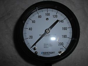 Ashcroft Dry Bottom Mount Pressure Gauge 4 1 2 Dial 0 To 200 Psi 93698xll