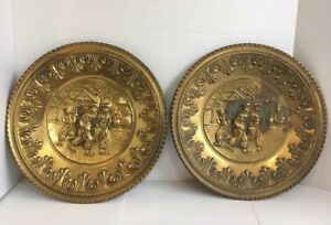 2 Vintage Gold Colored Tin Metal Wall Art Plates Made In England