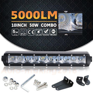 10inch 50w Single Row Led Work Light Bar Combo Suv Boat Driving Offroad Atv 4wd