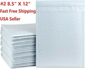 2 8 5 X 12 white Padded Envelopes Water Proof Poly Bubble Mailers Self Sealing