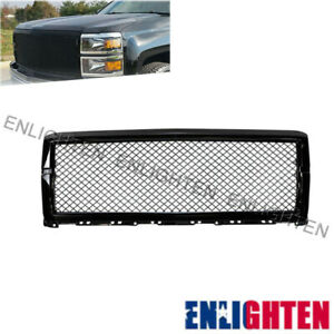 Fits Chevy Silverado 1500 2014 2015 Glossy Black Mesh Grill Front Bumper Grille