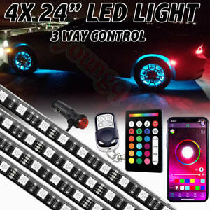 4pcs 24 Multi Color Wheel Well Led Light Custom Neon Accent Strip Rim Tire Kit