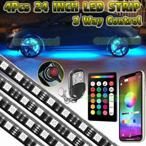 4x 24 Rgb Car Truck Wheel Well Led Light Custom Accent Neon Rim Tire Strip Set