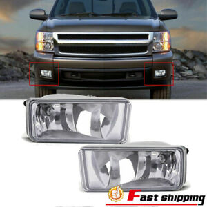 Fits Chevy Silverado 2007 2013 1500 2500 Hd Tahoe Clear Bumper Fog Lights Lamps