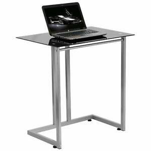 Jita Black Tempered Glass Computer Desk Silver N a