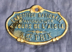 Antique French Agricultural Metal Blue Plaque Poultry Show 3rd Prize