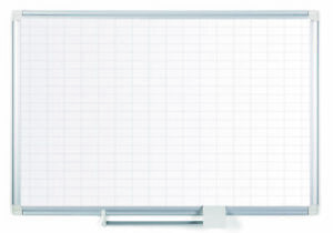 Mastervision Magnetic Porcelain Dry erase Planning Board 1 X 2 Grid Alumi