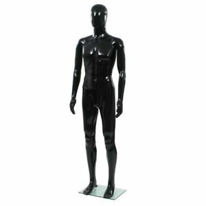 Vidaxl Full Body Male Mannequin With Glass Base Glossy Black 72 8