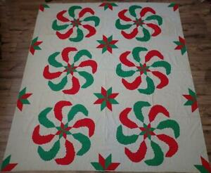 Princess Feathers Vintage Red Green Applique Quilt Top 87x78