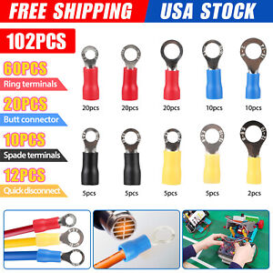 102pcs Insulated Electrical Wire Splice Terminal Spade crimp ring Connector Kit