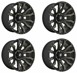 Set 4 20 Fuel D674 Blitz 20x10 Matte Black Ddt 8x180 Wheels 18mm Truck Rims