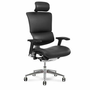 X chair X4 Leather Executive Office Chair With Headrest Black Leather
