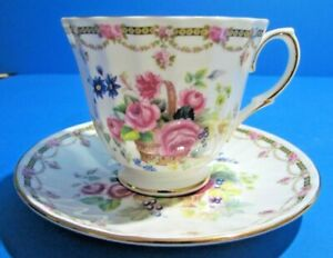 Antque Royal Nobilta Fine Bone China Floral Tea Cup And Saucer Made In England