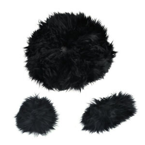 Black Long Soft Wool Handbrake Gear Shift Cover Fuzzy Steering Wheel Cover Tp