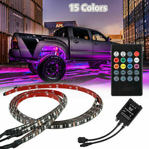 4pcs Rgb 48 Led Strip Under Car Tube Underglow Underbody System Neon Light Kit