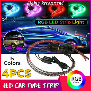 15 Color Led Strip Under Car Tube Underglow Underbody System Neon Lights Kit