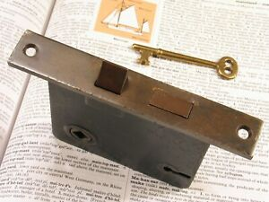 Vintage Brass Mortise Door Lock W Skeleton Key Antique Victorian Hardware B