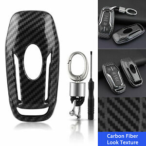 Carbon Fiber Hard Smart Key Cover Accessories Chain Case Holder For Ford Lincoln