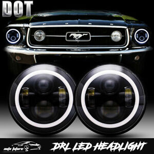 Dot Led Hi Lo Beam Projector 7 Inch Round Headlights For Ford Mustang 1965 1978