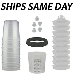 New Disposable Spray Paint Gun Plastic Liners Lids Kits 20 Ounce 600ml Cups