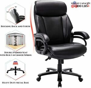 High Back Big Tall 400lb Bonded Leather Office Chair Large Executive Black