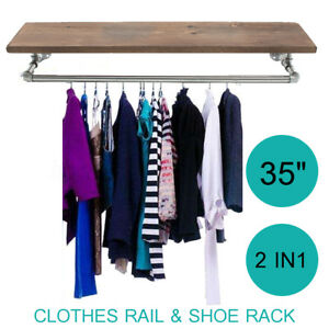 35 Industrial Retro Silver Iron Pipe Clothes Rail Shoes Wooden Rack Wardrobe